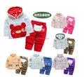 Novo 2014 primavera outono inverno roupa dos miúdos conjuntos criança outerwear + crianças calças define bebé / meninos casaco quente desenhos animados ternos