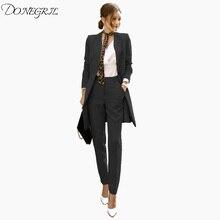2018 New Elegant Office suits Women's Suit+dress Office lady 2 Piece Sets With a Chic Belf Ladies Formal Work Wear Business suit