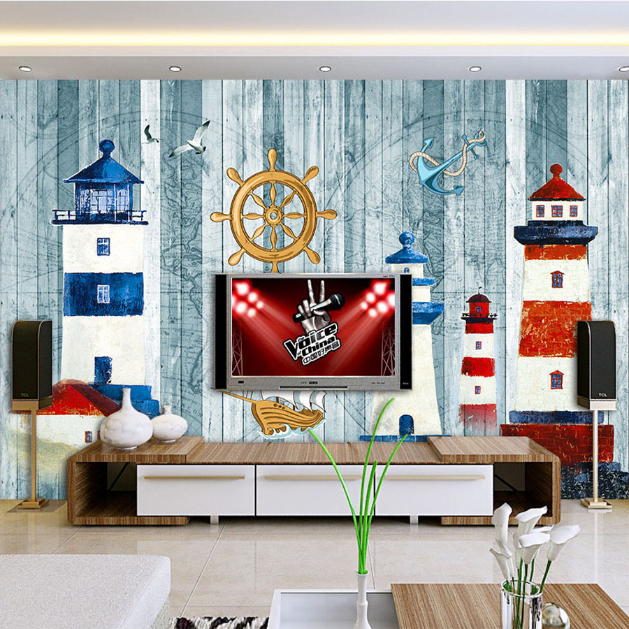 Lighthouse bedroom decor - Custom Mural Wallpaper Lighthouse Mediterranean Landscape Mural Living Room Bedroom Background Wall Decoration Photo Wallpaper