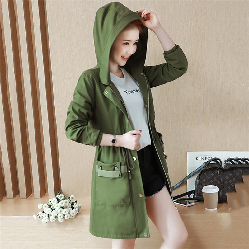 2019 Autumn Winter Windbreaker For Women Trench Coat Hooded Cotton Long Casual Female Spring Coat Armygreen Outerwear  A711