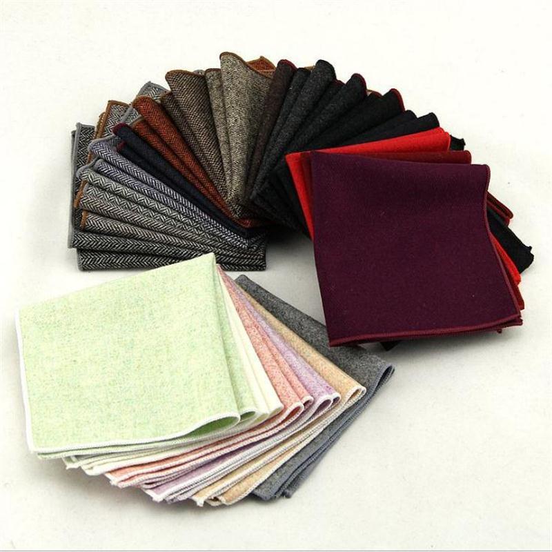 Luxury Wool Handkerchief For Men Pocket Square Towel Hankie Hanky Suit Accessories 50pcs/lot