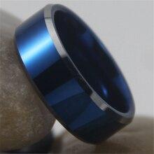 Бесплатная Доставка Горячей Продажи 8 ММ Ширина Синего Цвета С Блестящей конические Пользовательские Кольцо Пустой Кольцо Новый мужской Моды Tungsten Wedding кольцо