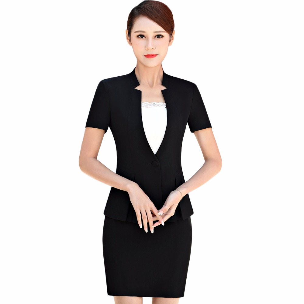 Short Sleeve Blazer Jacket With Skirt 2 Pieces Set Female Work Wear Skirt Suits 2018 New