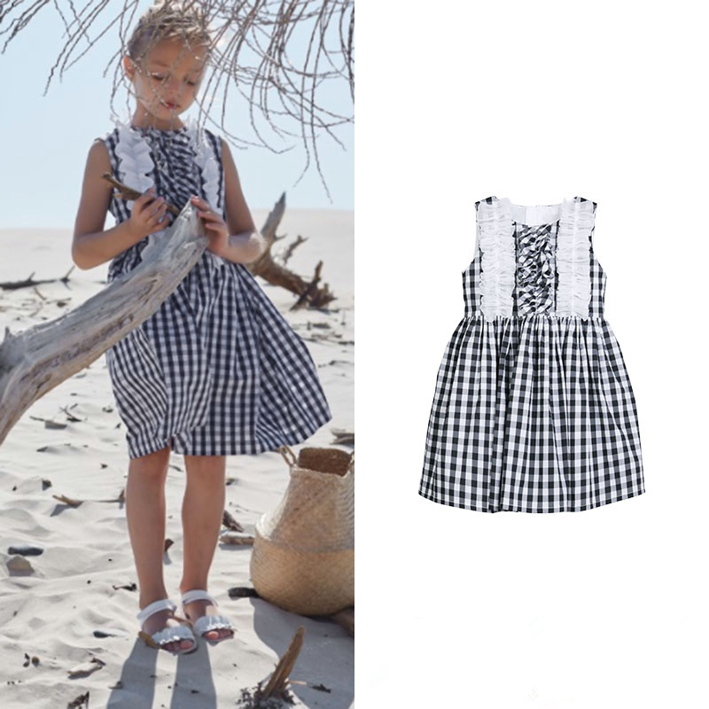 Brand girl striped clothes sleeveless 2-7year high low striped sleeveless overlap blouse