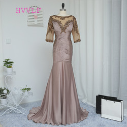 2017 mother of the bride dresses mermaid half sleeves gray see through beaded backless long brides.jpg 250x250