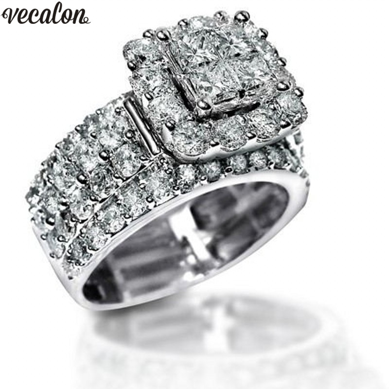 Vecalon Luxury Lovers Promise Ring 925 sterling silver 5A Zircon Cz Engagement Wedding band rings for women Men Jewelry Gift vecalon heart shape jewelry 925 sterling silver ring 5a zircon cz diamont engagement wedding band rings for women bridal gift