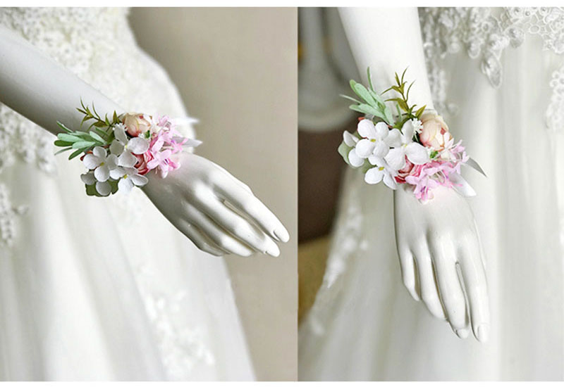 bridal wrist corsage Groom Groomsman boutonniere Brooches rose artificial wedding flower  (2)