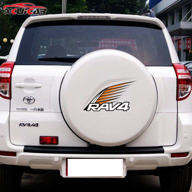 Car-Styling Modifications Spare Tire Cover White Silver Reflective Car Stickers for Toyota RAV4 special car trunk mats for toyota all models corolla camry rav4 auris prius yalis avensis 2014 accessories car styling auto