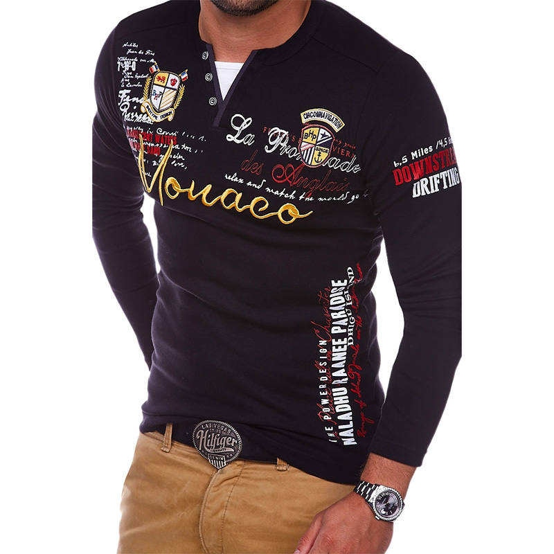 ZOGAA 2018 Men   Polo   Shirt Casual Cotton Letter Printing Tee Shirts For Men Long Sleeve Tops Quick Dry Male Clothes