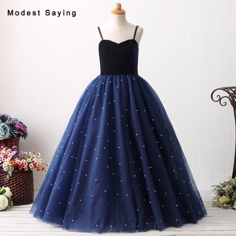 Romantic Navy Blue Ball Gown Velvet Top Pearls Flower Girl ...