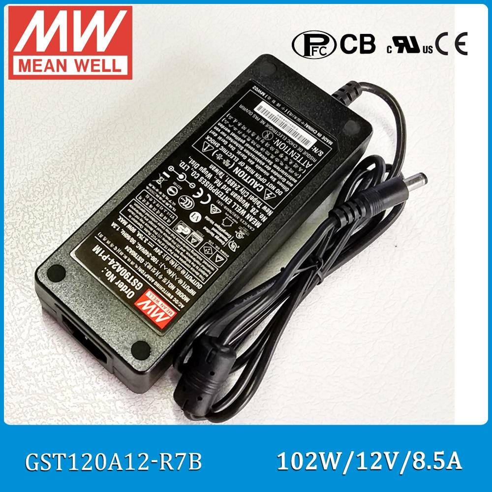 цена на Original Meanwell GST120A12-R7B 102W 12V 8.5A AC/DC Level VI Mean well desktop Adaptor with PFC