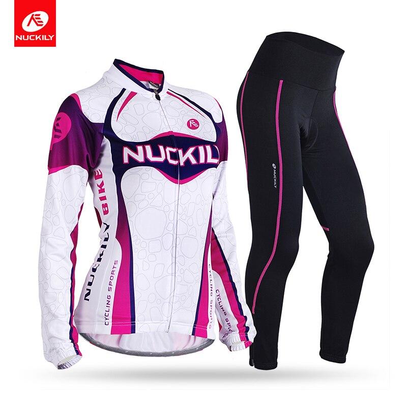 NUCKILY Térmica Inverno Camisa de Ciclismo Terno Bicicleta de Estrada Reflexiva Calças Justas manga Comprida Poliéster Vestuário Desportivo Para As Mulheres GI001GN001