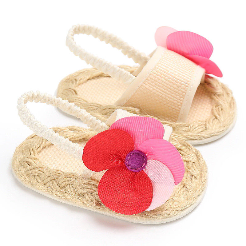 Summer Infant Baby Girl Shoes Rattan Anti-slip Floral Prewalker Toddler Shoes
