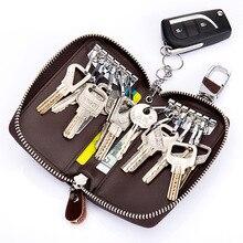 Fashion Cowhide Car Key Holder Men Women Cow Leather Zipper Key Wallet Cases Mini Bag Pocket Pouch Travel Keys Organizer