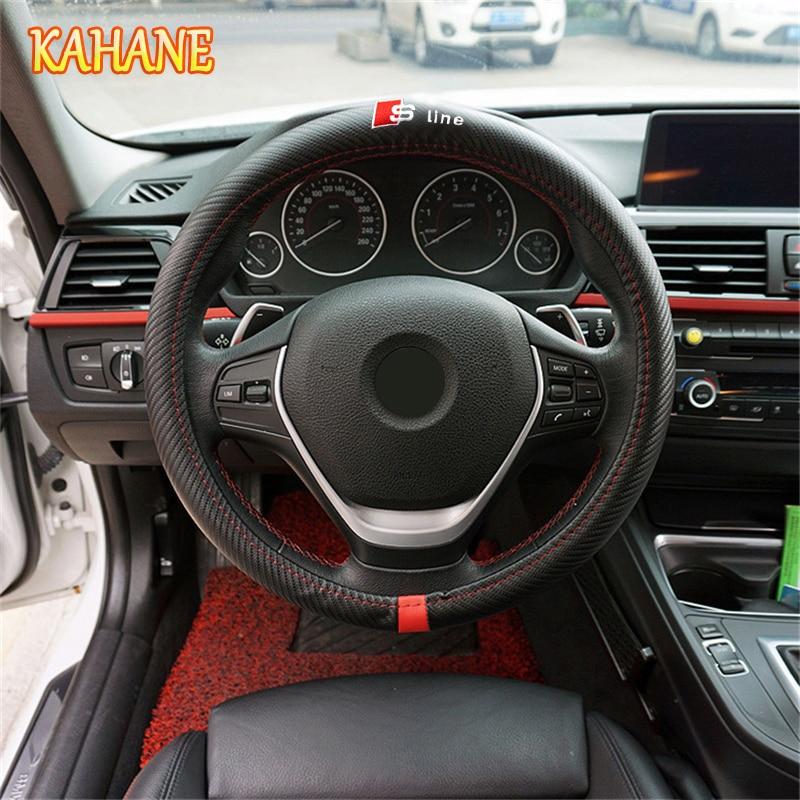 KAHANE Sline 38cm Carbon Fiber Sport Car Steering Wheel Cover FOR Audi A3 A4 A5 A6 A7 A8 B4 B5 B6 B7 C4 C5 C6 RS R8 TT Q3 Q5 Q7