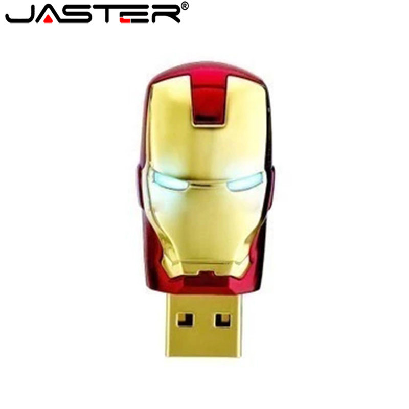 JASTER Ironman USB Flash Drive 4GB 8GB 16GB 32GB USB 2.0 Flash Memory Stick Pendrive Metal Pen Drive Blue LED Light