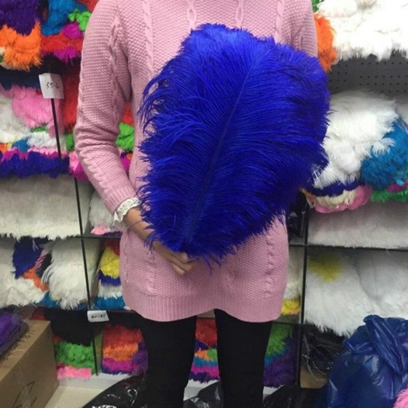 50pcs lot blue ostrich feather 35 40 CM 14 16 inche plume performance headwear clothing festival