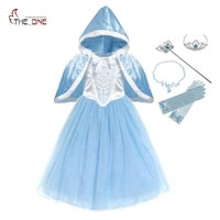 MUABABY Girls Cinderella Dress Sequined Deluxe Puff Sleeve Princess Cosplay Costume With Cape Kids Prom Party