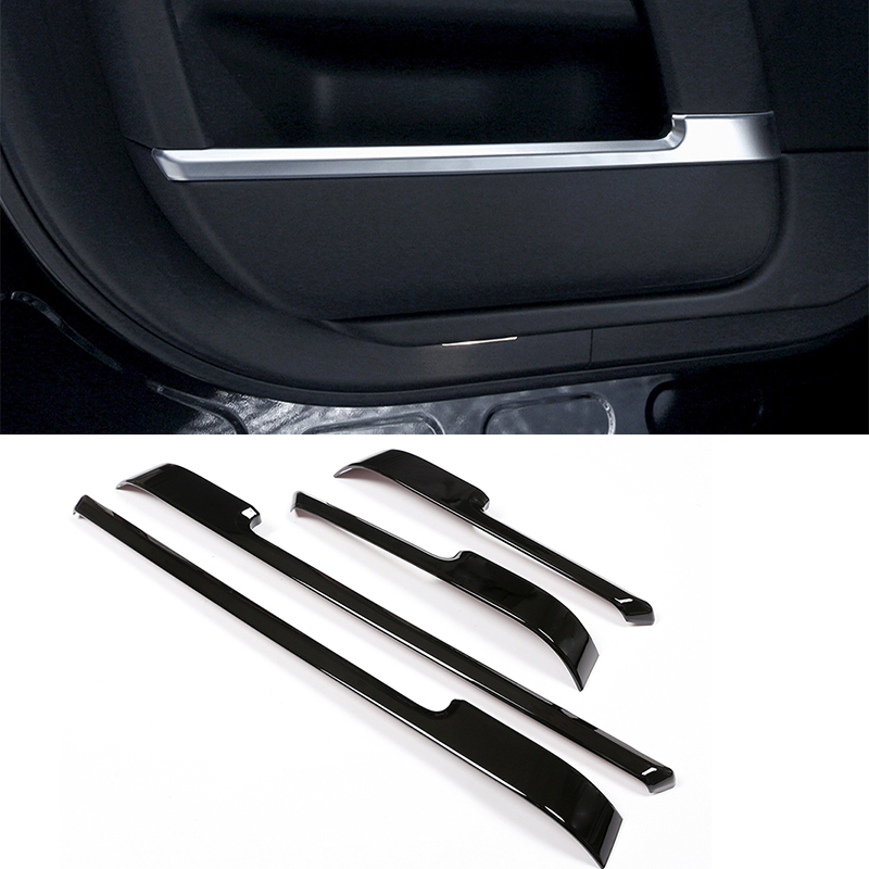 4pcs Glossy Black ABS Chrome Interior Door Decoration Strip Trim For <font><b>Land</b></font> <font><b>Rover</b></font> Range <font><b>Rover</b></font> Vogue <font><b>L405</b></font> 2013-2017 Car Accessories image