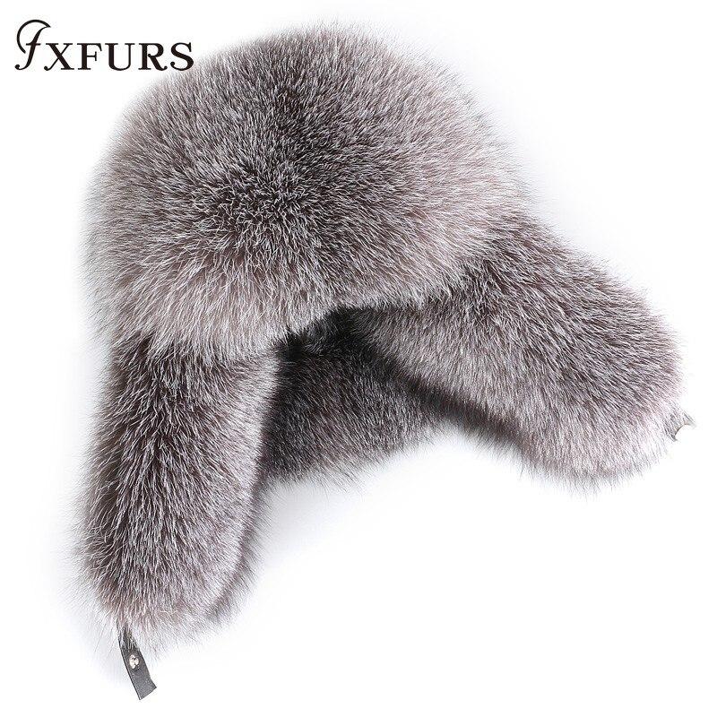 Winter Men Raccoon Fur Hats Silver Fox Fair Caps Leifeng Black Fox Hatska Russian Leather Bomber Hats Trapper Earflap Caps Male