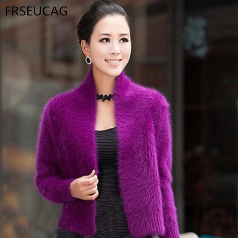 FRSEUCAG 2017 fashion new cashmere mink velvet sweater sweater short jacket shawl solid color genuine hot Women's clothing