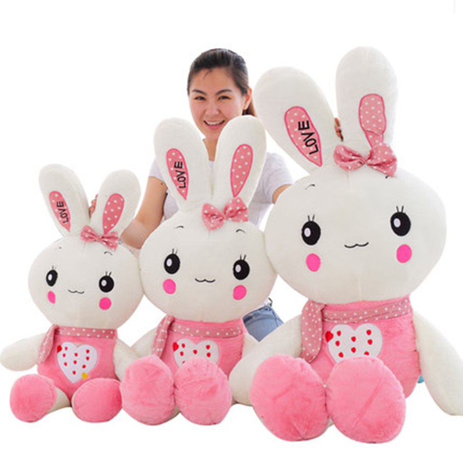 Cute Animal Soft Stuffed Plush Toys Long Ear White Beauty Rabbit Bunny Plush Toy Doll Cute Adorable Pet Birthday Gift 70C0053 28inch giant bunny plush toy stuffed animal big rabbit doll gift for girls kids soft toy cute doll 70cm