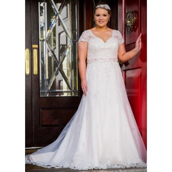 New Arrival Elegant Plus Size Wedding Dresses Sexy V Neck Cap Sleeves Backless Lace Appliques Formal Bridal Gowns For Women ball gown wedding dresses 2020 sexy backless vintage long sleeves lace appliques flower dubai formal bridal wedding gowns