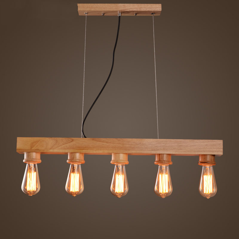 Aliexpress Buy Hot Vintage Edison Bulbs Hanging Pendant Lights For Dining Room CreativeWooden Lamp Nordic Wood From Reliable