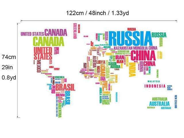 Online shop large wholesale high quality zooyoo english alphabet large wholesale high quality zooyoo english alphabet world map 116x190cm black wall stickers ultralarge letter world map gumiabroncs Images