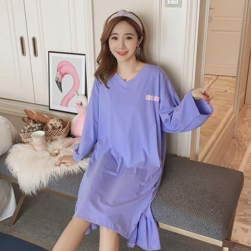 42bd14fd25 Cute Laciness 100% Cotton Nightdress Women Night Gown 2019 Spring Long  Sleeve Nightie Night Dress Female Nighty Sleepwear