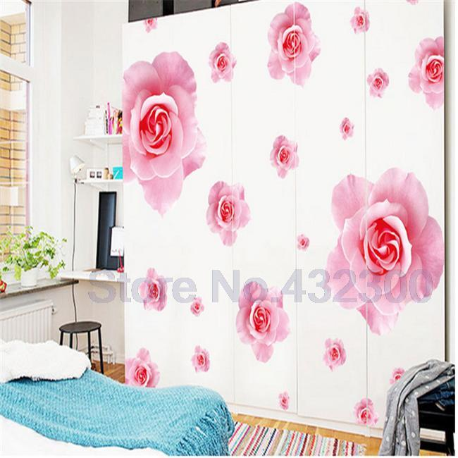 Big pink roses flowers vinyl wall stickers home decor DIY living ...