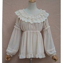 Beige Lolita Chiffon&Lace Ruffles O Neck High Quality Spring Autumn Women's Shirts Long Lantern Sleeves Blouse Women Shirt 2017