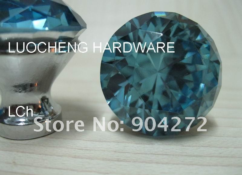 50pcs lot 30 mm water blue crystal cabinet knobs on chrome zinc basechina