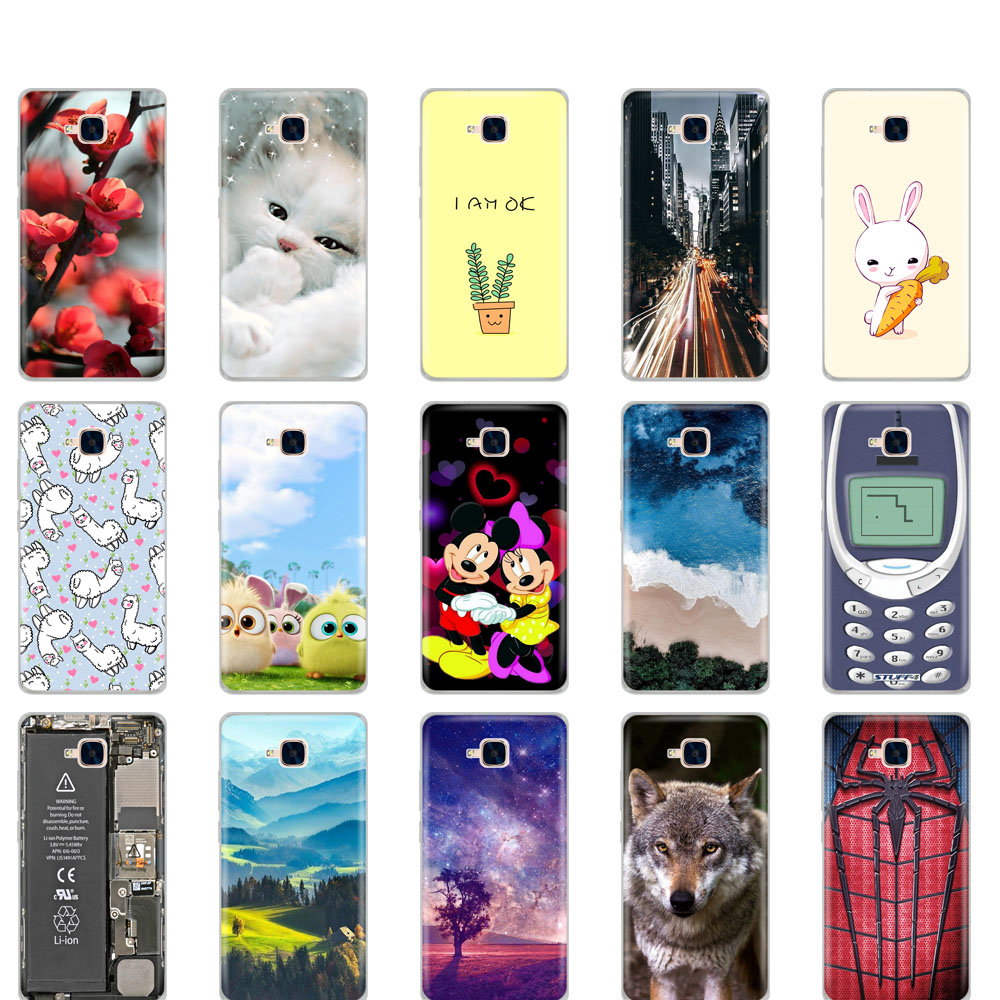 Case For Huawei Honor 5C Case Silicon Russian Version Back Cover For Huawei Honor 5C Without Fingerprint Hole Cute Cat