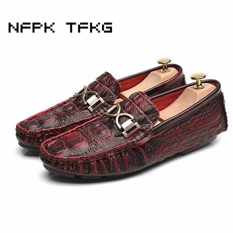 mens breathable office party dress soft genuine leather summer shoes teenage slip on driving shoe alligator skin loafers oxford choudory summer dress crocodile skin shoes men breathable prom shoes full grain leather pointy mens formal shoes shoe lasts