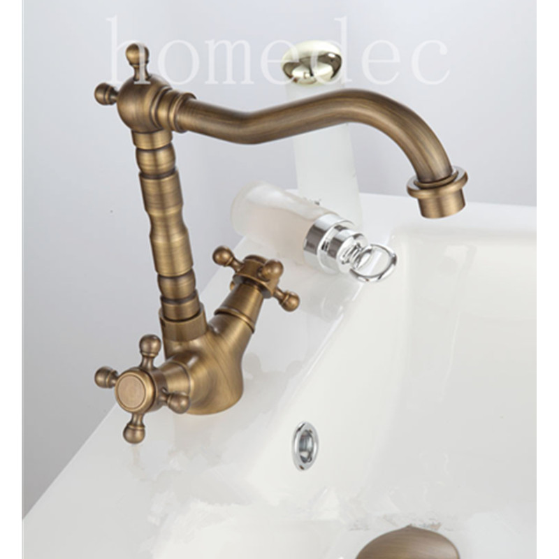 Classic Double Handle Single Hole antique bronze sink basin Faucet hot cold mixer micoe hot and cold water basin faucet mixer single handle single hole modern style chrome tap square multi function m hc203
