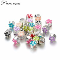 DIY Cherry blossoms Silver Plated Charms Bead Murano Alloy Beads and Spacers Fit For European Bracelet Pack of 50 DY09