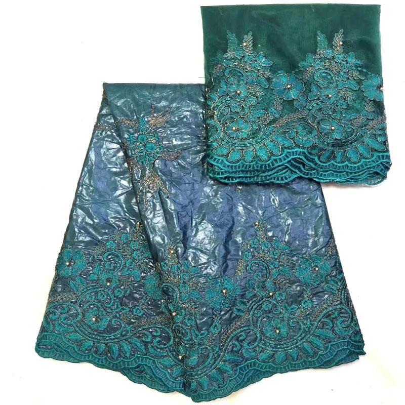 Laatste Afrikaanse bazin riche stof 5 yards hoge kwaliteit bazin riche getzner met kralen in Royal blue voor trouwjurk NJR 02-in Kant van Huis & Tuin op  Groep 3