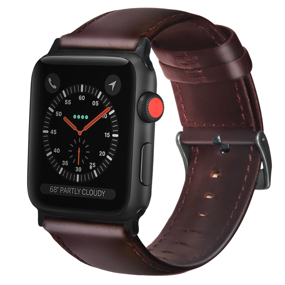 FOLOME Genuine Leather Wax Oil Skin Band Bracelet For Apple Watch Series 1/2/3/4/5 Watchband Replacement Strap Men 38/42/40/44mm