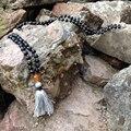 ST0186 108 Мала Ожерелье Из Бисера Длинное Ожерелье с кисточкой Завязанный Матовый Черный Оникс Камень Ожерелье Необычные Бусы, Четки