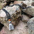 ST0186 108 Mala Bead Necklace Long Necklace with tassel Knotted Matte Black Onyx Stone Necklace Fancy Rosary Necklaces