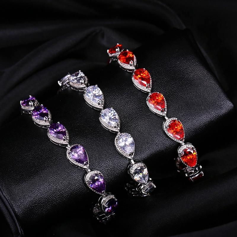 CWWZircons 2019 Fashion Womens Accessories Luxury Cubic Zirconia Water Drop CZ Stone Bracelet for Bridal Wedding Jewelry CB135 6