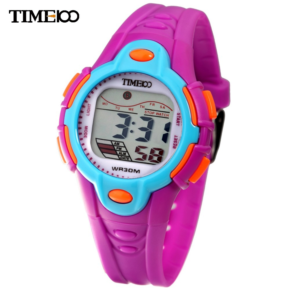Time100 Kids Digital Watch Cartoon 30m Waterproof Colorful LCD Cold Light Multifunction Rubber Strap Outdoor Sport Digital Watch