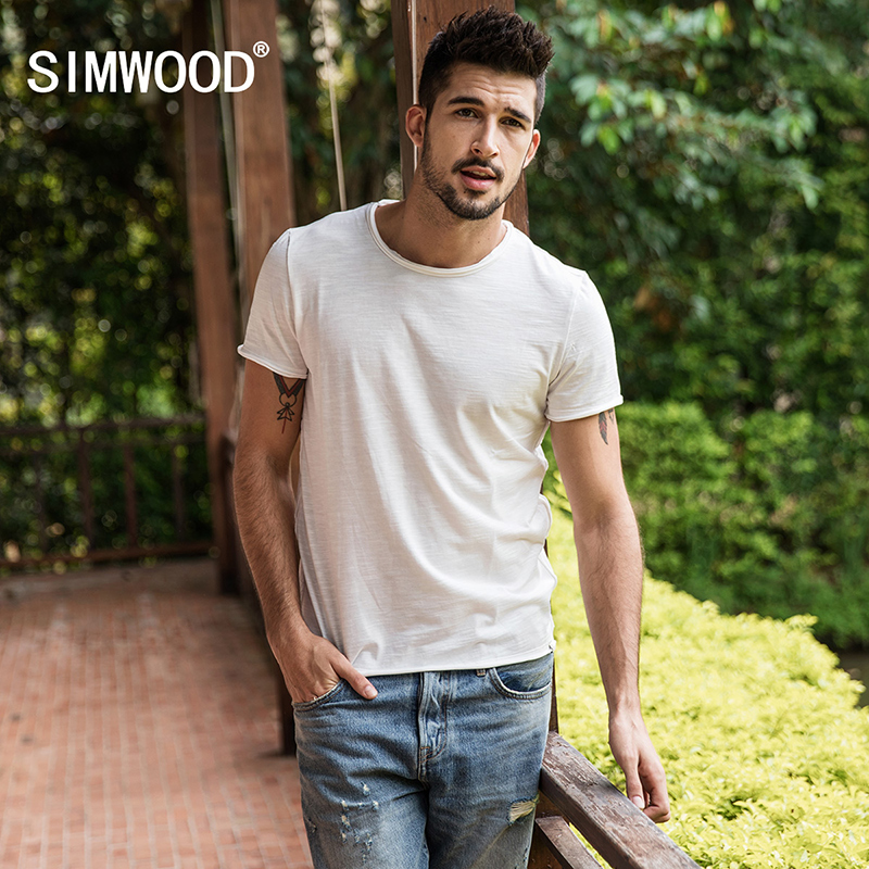 SIMWOOD Brand 2019 Hot Sale New Men Clothing   T     shirt   Summer Short Sleeve O-neck Casual Slim Tops Tees Free Shipping 180050