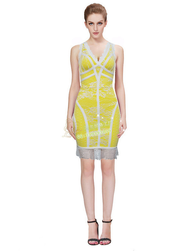 High quality new dresses Yellow And white lace Slim Stretch Fashion Leisure Cocktail party Bandage dress(H0507)