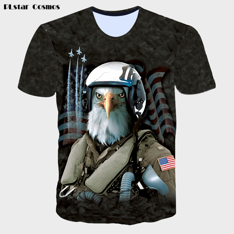 2018 Funny Anime Eagle 3D T Shirt USA Flag Summer Tops harajuku Tee shirts Unisex Men's Casual T Shirt Brand Clothing Dropship