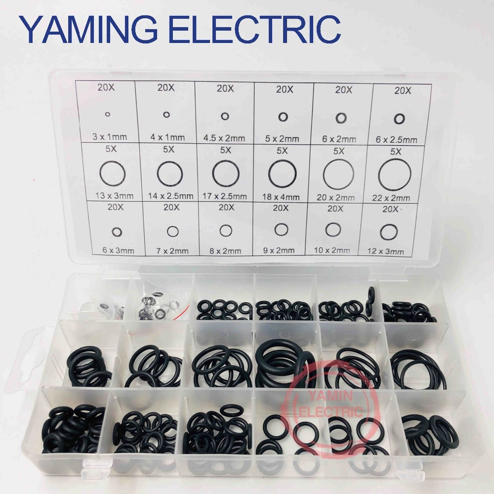 225pcs Black Rubber O-Ring Assortment Washer Gasket Sealing Ring Kit 18 Sizes with Plastic Box Kit With Case 225pcs 15 sizes o ring o ring white vmq silicon o rings good elasticity washer gasket sealing assortment kit with plastic case