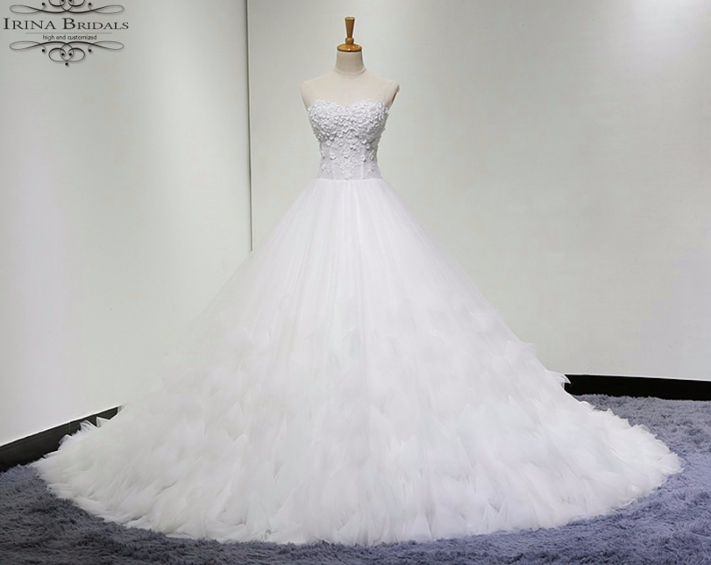 alibaba retail store Off Shoulder Flowers Pleat Illusion Wedding ...