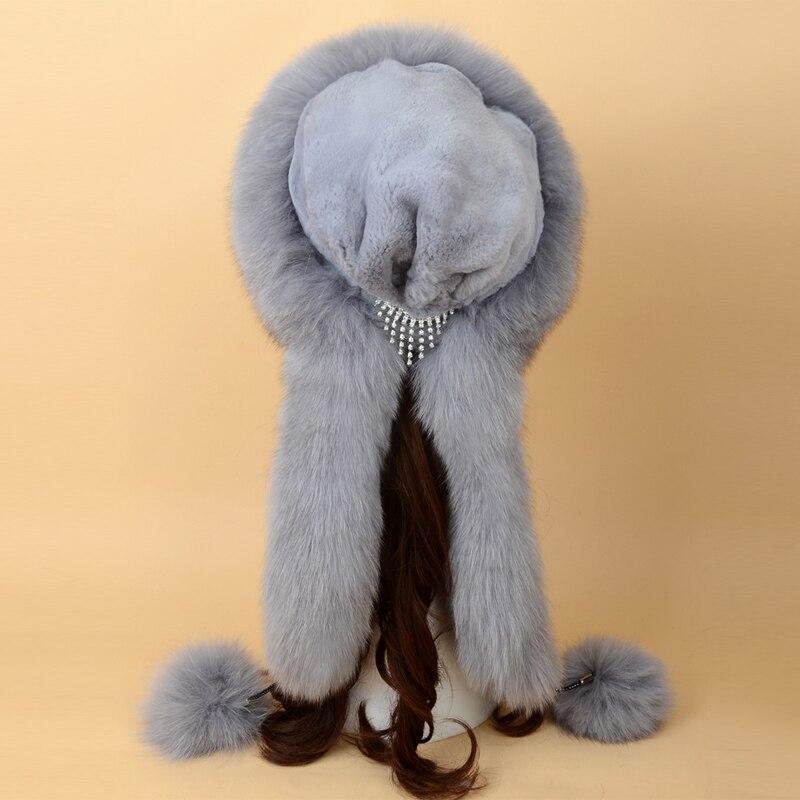 Chapeau de fourrure russe renard fourrure chapeau Skullies bonnets adulte hiver chapeau femmes spécial mode Style boule décoration 2017 nouveau SF13060 16 - 6