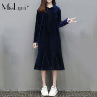 MissLymi XL 5XL Plus Size Women Velvet Hoodie Dresses 2017 Winter Cute Fashion Long Sleeve Loose